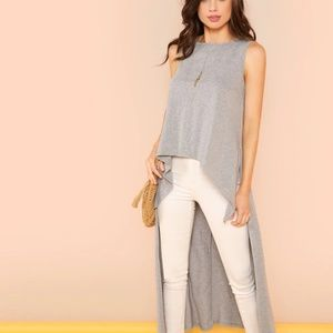 SHEIN High Low Heathered Knit Top NEW